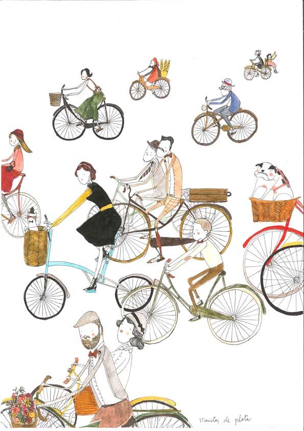 ilustracion bicis vintage