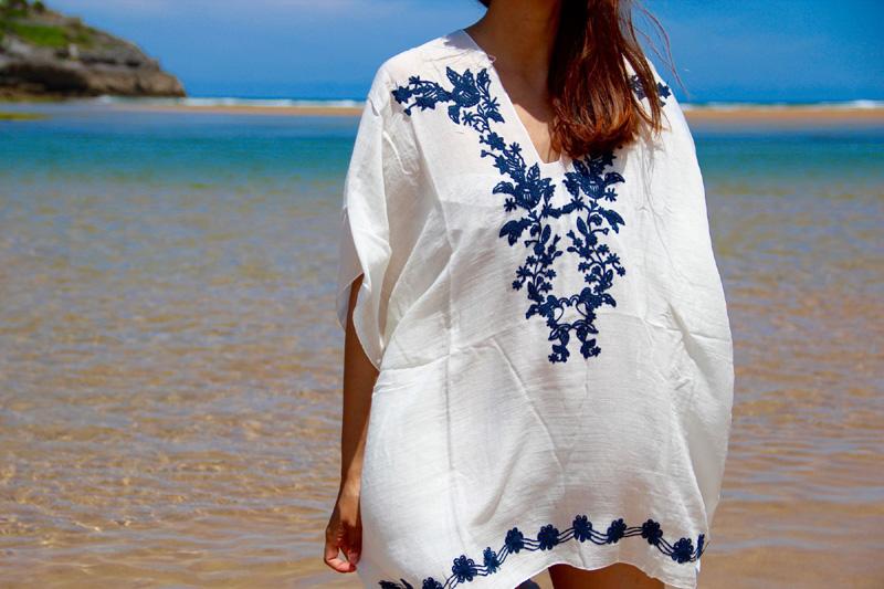 kaftan bordado azul marino
