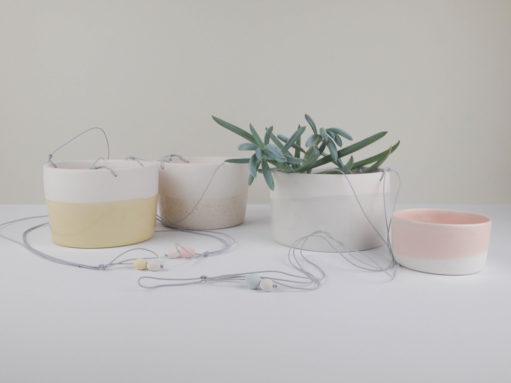 maceta ceramica colgar plantas