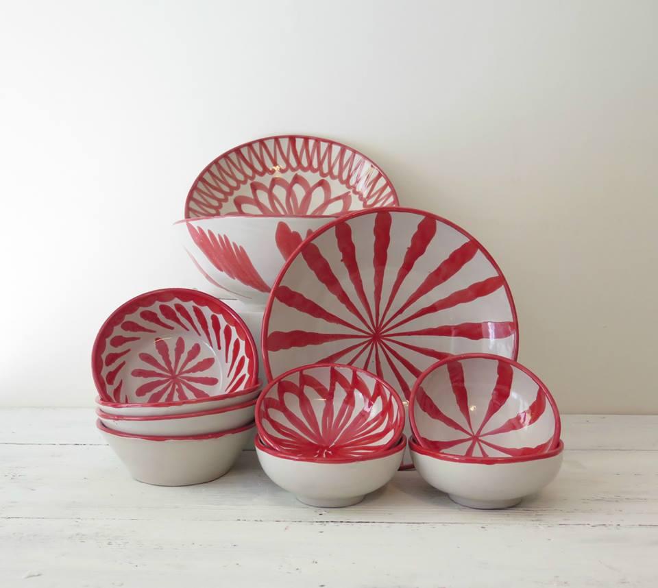 platos ceramica colores pintados a mano