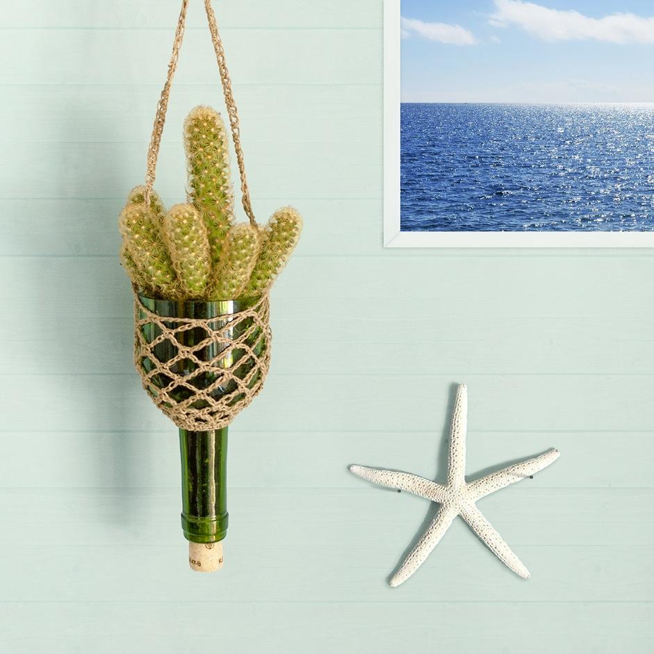 Floating islands l mparas y macetas colgantes hechas con for Lamparas para jardineras