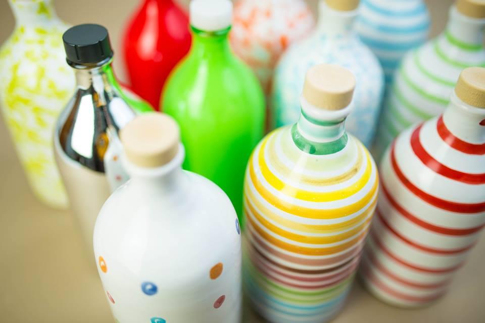 botellas cerámica colores