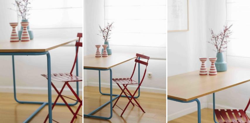 mesa roja azul picapino